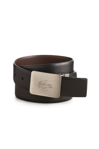 Men's Reversible Leather Belt With Engraved Logo Buckle