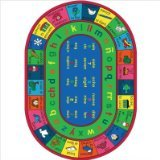 "Joy Carpets Kid Essentials Language & Literacy Oval Spanish LenguaLink Rug, Multicolored, 7'8"" x 10'9"""