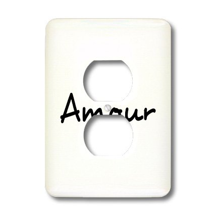 Lsp_185028_6 Inspirationzstore Love Series - Amour, Word For Love In French, Romantic World Language, France Text - Light Switch Covers - 2 Plug Outlet Cover