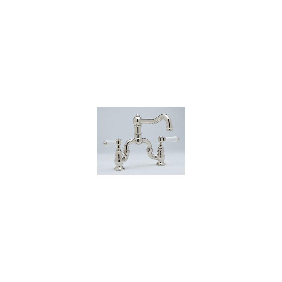 Rohl Chrome Bridge Kitchen Faucet with Porcelain Lever Handles