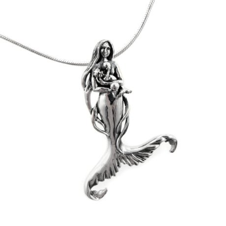Seer's Child – Mother Mermaid and Baby Sterling Silver Pendant 18″ Necklace