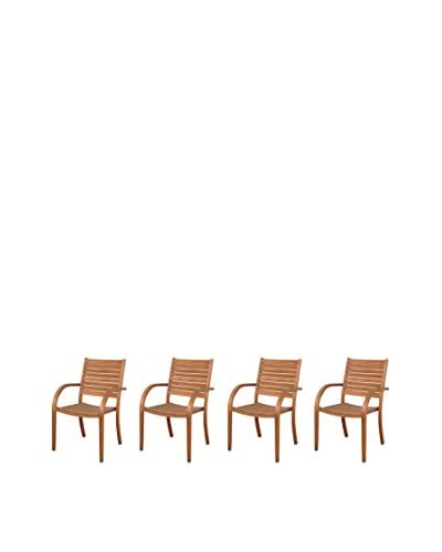 Amazonia Set of 4 Arizona Eucalyptus Patio Armchairs, Brown