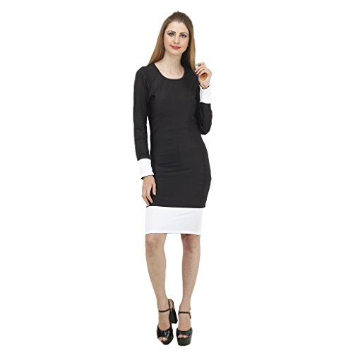JAMES-SCOT-Women-U-Neck-Full-Sleeves-Solid-Black-Colour-Bodycon-Dress