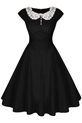 ACEVOG Women's Retro 1950'S Vintage Bridesmaid Party Dress, Large, Black
