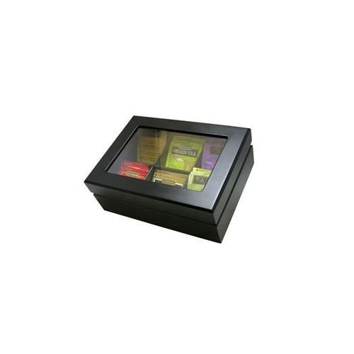 Black Wooden Tea Display Storage Chest
