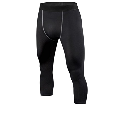 Men's Compression Running Fitness Tights Pants Base Layer Leggings,Black,Medium
