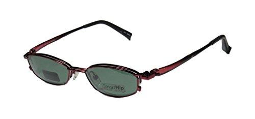 Smart Flip 413 Mens/Womens Rxable Designer Half-rim Sunglass Lens Clip-Ons Eyeglasses/Eye Glasses (50-18-140, Satin Burgundy) (Mirror Edge Cosplay compare prices)