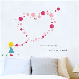 Romantic Little Girl Blowing Bubbles Children'S Baby Nursery Kids Bedside Background Plane Wall Decal Stickers
