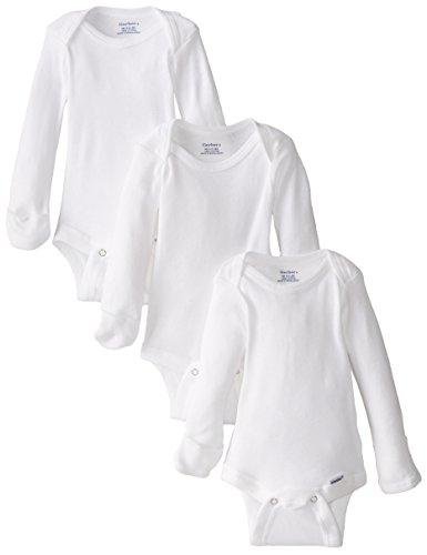 Gerber Unisex-Baby Newborn 3 Pack Longsleeve Mitten Cuff Onesies Brand, White, 0-3 Months