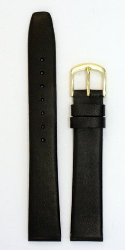 Men's Movado Style Leather Watchband - Color Black Size: 16mm Watch Strap