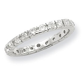 Genuine IceCarats Designer Jewelry Gift Sterling Silver Cz Polished Eternity Ring Size 6.00