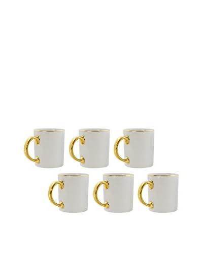 10 Strawberry Street Set of 6 Gold Line 10-Oz. C-Handle Mugs