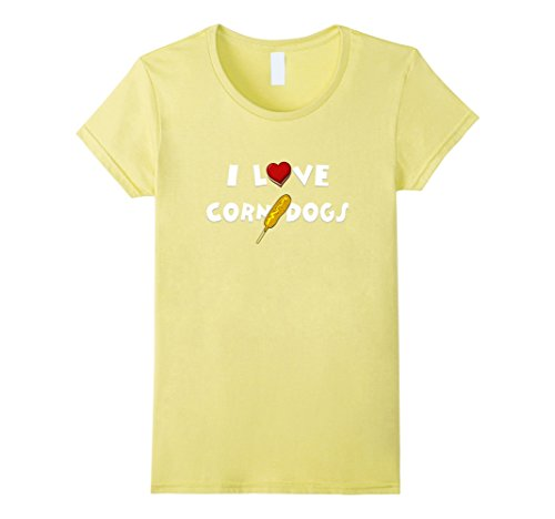 Women's I Love Heart Corn Dogs Funny T-Shirt Large Lemon (Corn Dog Clothing compare prices)
