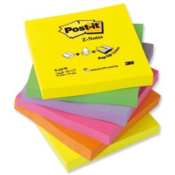 Brand New. Post-it Z-Notes 76x76mm Neon Rainbow Ref R330UC [Pack 6]