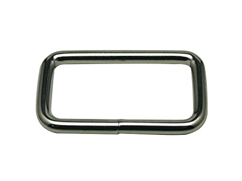 "Generic Metal Silvery Rectangle Buckle 1.5"" X 0.8"" Inside Dimensions Loop Ring Belt and Strap Keeper Pack of 12"