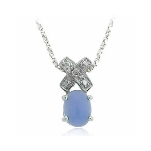 Sterling Silver X and O Chalcedony Genuine Diamond accent Pendant
