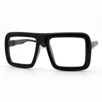 Amazon.com: Black Thick Square Glasses Clear Lens ...