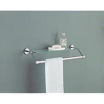Organize It All Bathroom Glass Shelf with Chrome Towel Bar