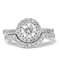 1.00CT Pave Halo Diamond Engagement 14k White Gold Wedding Ring Band Anniversary Set