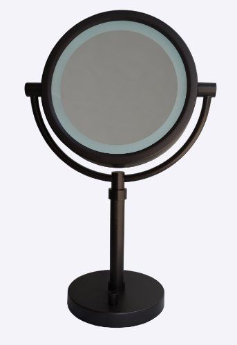 Urbanest Pulita 8-Inch Tabletop Double-Sided Led Lighted Vanity Mirror With 10X Magnification, Day Light (Oil-Rubbed Bronze)