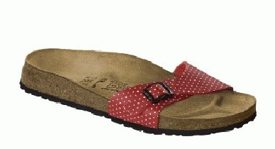 Cheap Birkis slippers Menorca in size 35.0 N EU made of Birko-Flor in Cherry Mini Points White with a narrow insole (B005119HS4)