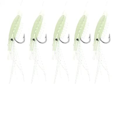 Como 5 In 1 Angling Tackle Fishing Luminous Silicone Shrimp Lure Bait Hook 16 from Como