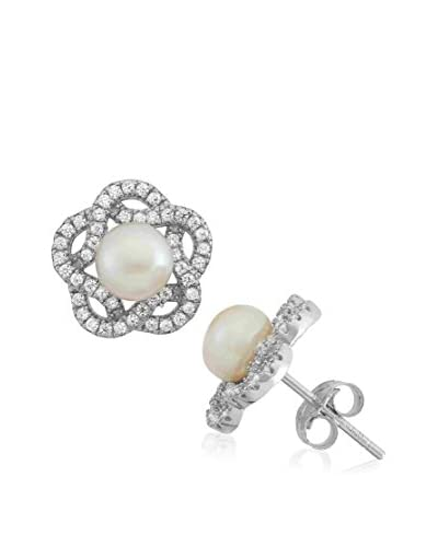 Diamante Sterling Silver Star CZ and Pearl Earrings