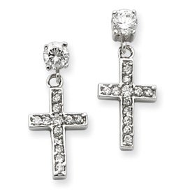 Sterling Silver CZ Cross Post Earrings Dangling