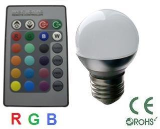 Glb 3 Watt Rgb Led Globe Light Bulb With Remote Control, 16 Color Choices, Replacement For Halogen Recessed Downlighting, Ceiling Lighting, Accent Lighting