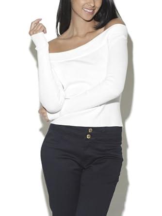 Arden B. Women's Off Shoulder Keyhole Zip Sweater L Egret
