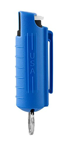 MACE Brand Keyguard Pepper Spray With Invisible Law Enforcement UV Marking Dye Including Hard Case with Belt Clip and Key Ring, 10 blasts of up to 10 feet (Blue) (Law Enforcement Rings compare prices)