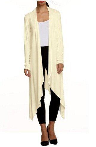 Meaneor Women's Long Sleeve Waterfall Asymmetric Drape Open Long Maxi Cardigan,  XX-Large, Beige