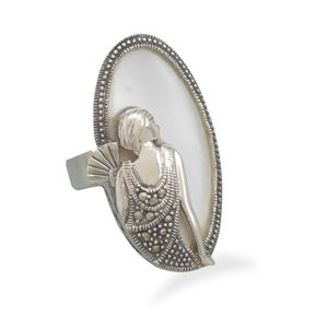 Sterling Silver Shell Ring with Marcasite Sitting Woman Design / Size 8