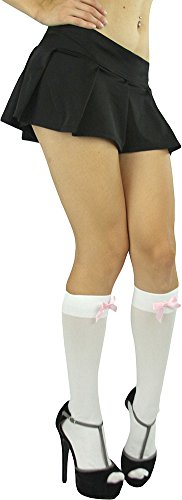 ToBeInStyle Women's Opaque Knee High Socks with Small Satin Bow