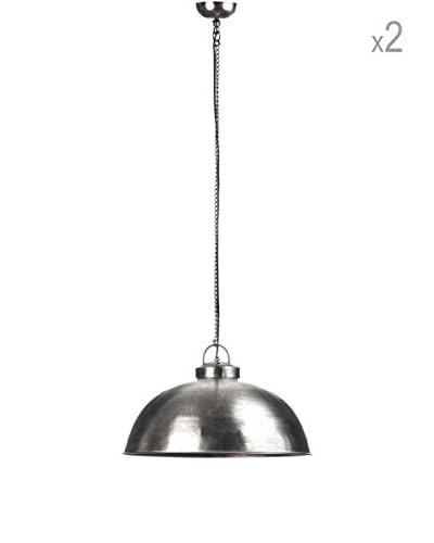 Metal Loft Set x 2 Lámparas Colgantes Aviator Plateado