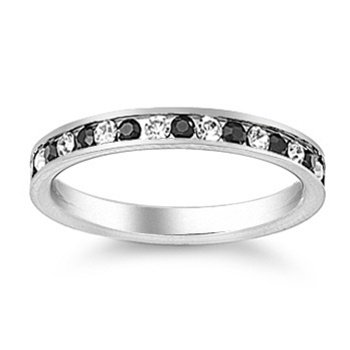Stainless Steel Eternity Ring with Black & White CZ Stones - Size 8