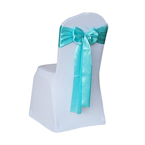 Lingstar Satin Wedding Chair Cover Bow Sashes Banquet Decor-Tiffany Blue 10PCS/SET 17*275CM