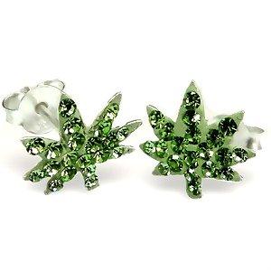 Crystal Ganja Sterling Silver Earrings Post/stud