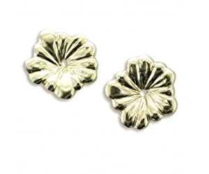 14KY Gold Small Flower Earring Jacket. 7/16 of a Inch In Diameter.