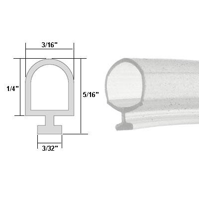 Clear Vinyl Shower Door Bulb Seal - 84 in long (Clear Bulb Seal compare prices)