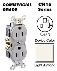Leviton Cr15-T 15-Amp, 125-Volt, Narrow Body Duplex Receptacle, Straight Blade, Commercial Grade, Self Grounding, Side Wired, Light Almond