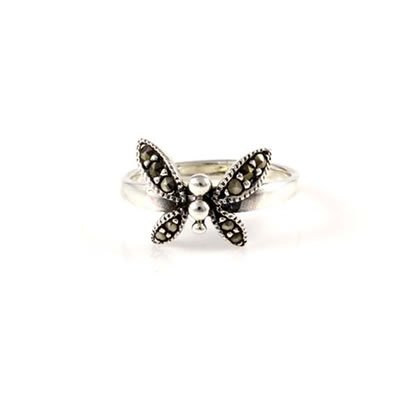 Butterfly Ring with Marcasite in Sterling Silver for Girls - Size 4
