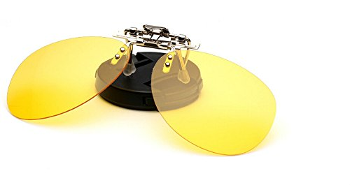 Zheino One-piece Sonnenbrillen-Clip Polarisierende Flip Up AVIATOR Kunststoff ,UV 400 Sonnenbrille Brillen Aufsatz Clipon Clip On's Brille Sonnenbrillen,Sonnenclips,Clips zum Autofahren bei Nacht Yellow