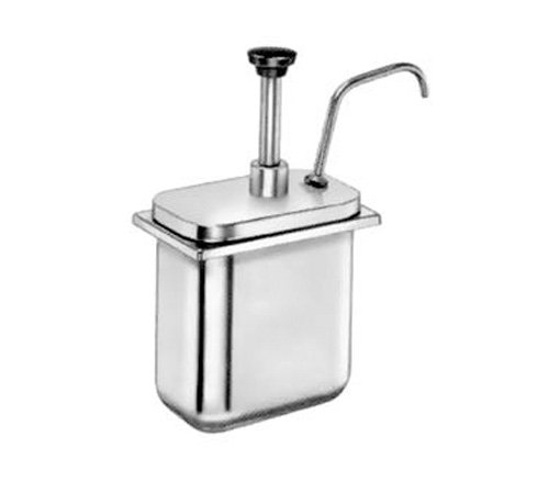 Server Products CP-200-83300 Fountain Jar Pump and Lid, Fits 2 quart Shallow Countertop Base, Dispenses Thick and Particulate Toppings, 1 oz. Full Portion, Stainless Steel (Countertop Fountain compare prices)