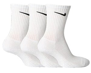 Mens NIKE 3 pair pack white cotton cushioned sport socks