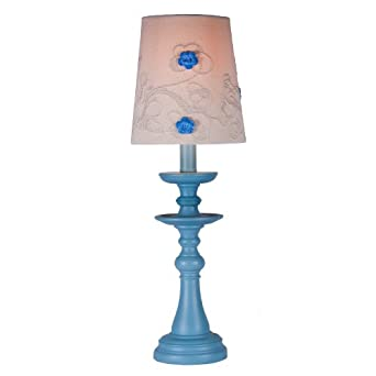 blue girl 39 s table lamp with embroidered shade girl bedroom lamp. Black Bedroom Furniture Sets. Home Design Ideas