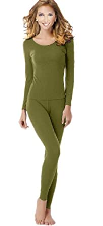 Women's Thermal Underwear Set Top & Bottom Fleece Lined, W1 Olive, XX-Large