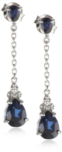 XPY Sterling Silver Created Sapphire Drop Earrings