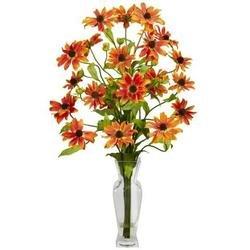 Orange Cosmos w/Vase Silk Flower Arrangement