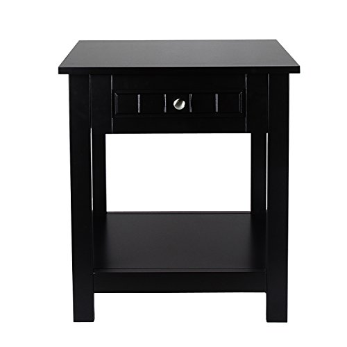ELEGAN Accent Drawer End Table (Side Table Espresso Curved Legs compare prices)